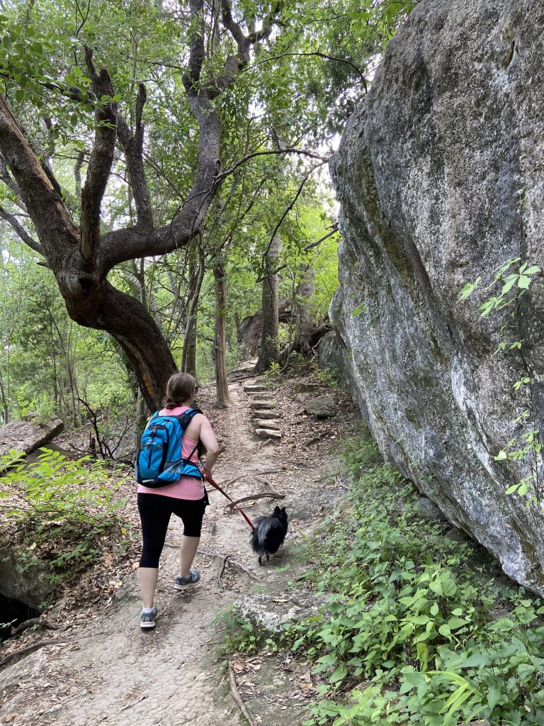 Woman hiking with small black dog
